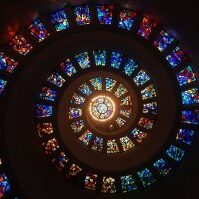 stained glass, spiral, circle
